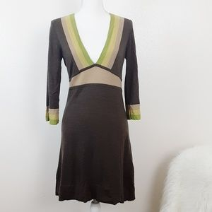 Boden Colorblock Wool Dress Brown Yellow Green 10